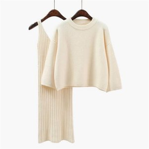 Women's Knitted Sets Long Sleeve Office Winter 2 Pieces Sweater dress Set Wear Casual Pullover Knitted Dresses Clothing Suit