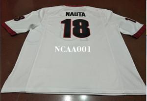 Homens # 18 Isaac Nauta Geórgia Bulldogs vermelho preto branco College Jersey ou personalizado qualquer nome ou número jersey