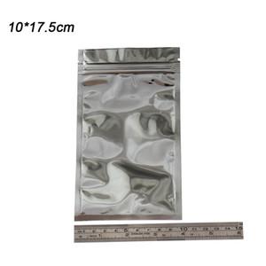 100 조각 10 * 17.5cm 지우기 전면 실버 알루미늄 호일 Mylar 포장 가방 소매 지우기 플라스틱 지퍼 Zip 잠금 포장 식품 등급 가방 팩