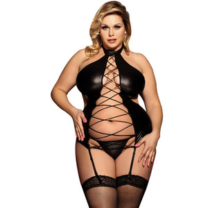 Plus Size Women Sexy Costumes Crossed Bodysuits Sexy Lingerie PU Patent Faux leather lingerie WTB2070