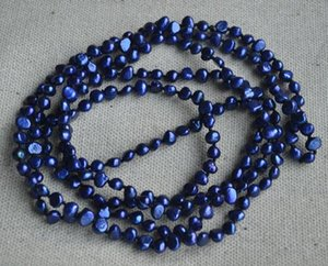 Collier de perles longues parfaites, collier de perles d'eau douce naturelle baroque bleue de 55 pouces