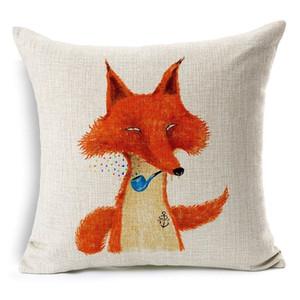 Квадратная хлопковая рождественская наволочка Lovely Animal Fox Декоративная подушка для подушки Хлопковое постельное белье с декоративной подушкой Cojines Almofadas 45x45cm