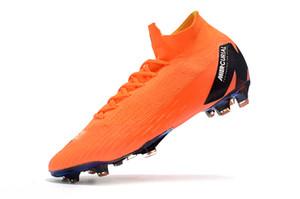 2018 Nuevo Orange Gold Women Soccer Cleats Mercurial Superfly VI 360 Elite 100% Original 6 Elite Kids Soccer Shoes CR7 Botas de fútbol para niños