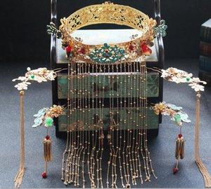 Traje de novia, gorro, boda china, traje de corona dorado redondo, Chang Liu Su, sacude el estilo de corona, vestido de gala.