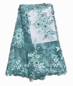 Nueva tela blanca africana francesa del cordón de la red del tul con los granos y las piedras Telas africanas del cordón de la boda nigeriana de la moda para el vestido l-1-1