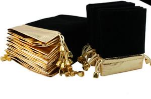 100pcs Gold side BLACK Velvet Drawstring Pouch Bag Jewelry Bag Christmas Wedding Gift Bags