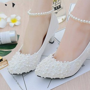 White Beading Ankle Strap Cute Flowers Bridal Shoes Med Heels Bridal Shoes Wholesale Women Shoes Evening And Party Shoe