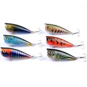 6 Pcs / Lot Artificielle Leurres De Pêche Kit Top Eau Leurre Flottant Popper avec Crochets 3D Fish Eye Poper Faux Leurre De Pêche Appât Vente Chaude