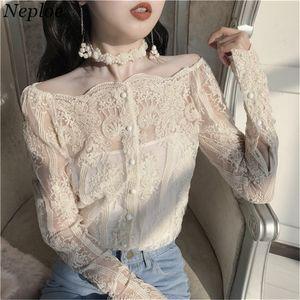 Neploe Sexy Slash cuello de mujer de encaje camisas 2018 coreano perspectiva de la moda de dos piezas Blusa Blusas de un solo pecho 66993
