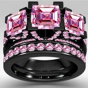 Choucong Style Princess cut 6ct Rosa Sapphrie 5A Circón piedra Oro negro 925 plata esterlina Anillo de boda de compromiso Anillo conjunto