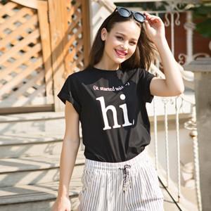 Новая мода весна лето Привет Письмо печати леди с коротким рукавом О-образным вырезом футболки женщины сплошной цвет верхней одежды