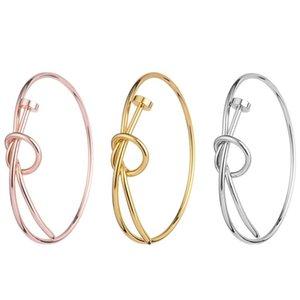 Regolazione semplice dei monili del braccialetto del braccialetto dell'acciaio inossidabile del braccialetto annodato filo aperto regolabile dei braccialetti del polsino del chiodo