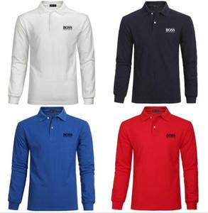 Polo Shirts Casual hommes de luxe t-shirts mode hugo printemps hommes classiques chemises Böss 100% marque de coton à manches longues T-shirt jouer au golf TOPS