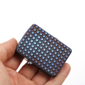EDC lega di titanio TC4 Ti Armatura Kerosene Lighter CNC 3D Caso di sopravvivenza esterna Strumento campeggio cotto blu / lavato con pietra