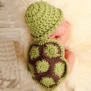 Sevimli Bebek karikatür hayvan kaplumbağa şapka costums fotoğraf prop el yapımı yenidoğan hayvan şapka elbise tığ bebek pelerin set toptan