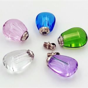 50 adet 12x16x8mm Küçük su damlası flakon kolye Cam Kristal parfüm şişesi adı pirinç kolye kolye