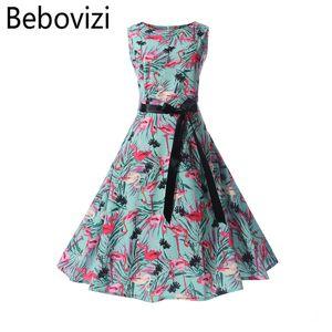 Bebovizi Fashion Brand Printing Hepburn Vintage Retro Women's Dress Rockabilly Big Hemlines Swing Party Dress Female