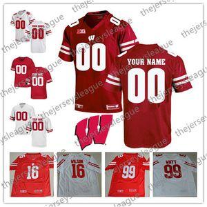 Personalizado Qualquer Nome Qualquer Número Branco Vermelho Costurado Personalizado # 99 J. J. Watt NCAA Colégio Futebol Jerseys S-3XL