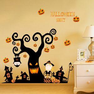 9 estilos Halloween Wall Sticker Cartoon Batman Bat Banshee Niños Haunted House Sticker de pared Glass Sticker Scene Arrangement