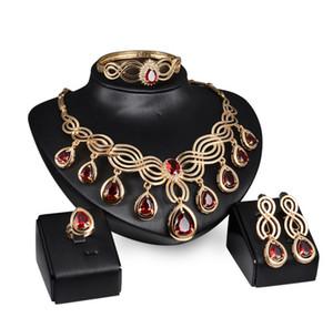 Conjuntos de joyas de cristal rojo Pendientes de collar Chapado en oro Joyería africana del partido Regalos de boda árabes / Nueva joyería etíope