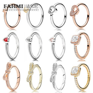 Fahmi 100% 925 Sterlingsilber-Herz-Ring-14K Golden Rose Gold Series Shiny Bow Ring Puzzle Heart Shaped Glänzende Herz Ring