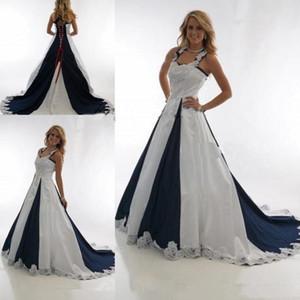 Vintage azul marino y blanco País Vestidos de boda baratos 2019 Halter con cordones Mancha de encaje Western Cowgirls Vestidos Vestidos de boda de talla grande
