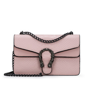 Damentasche 2018 Version von Small Square New Bag Fashion Snake Geprägte Umhängetaschen Chain Messenger Bag