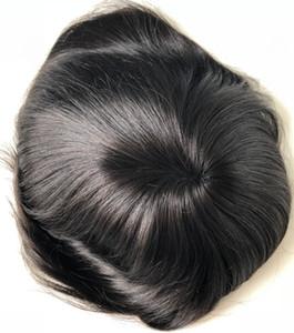 Mono Lace Wig for Black Men Toupee Mens Lace Stockings Mono with NPU Toupee on The Crown Men Toupee Human Hair Virgin Burmese