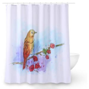 Oiseau 3d impression rideau de douche avec 12 crochets en plastique 3D Polyester tissu imperméable Mildewproof rideau de salle de bain