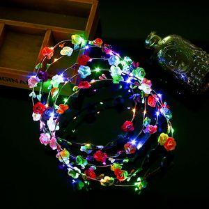 Wedding Party Women Girls LED Light Up Flower Headbands Sweet Princess Headband Hair LED Wreath Garland