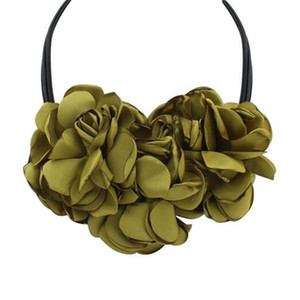 Exaggerated flowers double decor elegant chain of clavicle Necklaces
