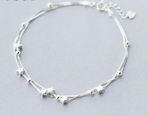 women's Wholesale Authentic 925 Sterling Silver Double Layers Star & Anklet Bracelet Fine jewelry S275