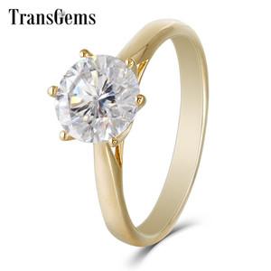 Transgems Center 2ct Moissanite Anillo de compromiso Oro 8 MM F Color Moissanite Diamond 14K Anillo de compromiso de oro amarillo Mujeres D18100709