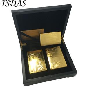 Fancy Euro 100 500 Design-24K Goldfolien-Spielkarte Zwei Poker Decks mit schwarzen Holzetui Hochzeits-Geschenk