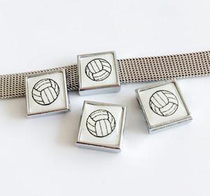10шт 8мм квадратный пластиковый волейбол печать слайд подвески бусины DIY аксессуары подходят 8 мм воротник ремни браслеты
