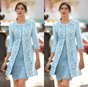 2018 Sky Blue Mother Off vestidos de novia Jewel 3D Flower Lace Applique 3/4 manga larga vaina con chaqueta Short Wedding Guest Gowns