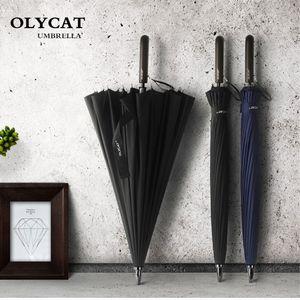 OLYCAT 24K Liso Longo guarda-chuva à prova de vento forte punho de madeira Chuva Umbrella Mulheres Homens de Negócios fibra de vidro Paraguas