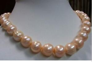 """11-13MM real natural Mar del Sur Pink Baroque Pearl Necklace 18 """". No pulsera"""