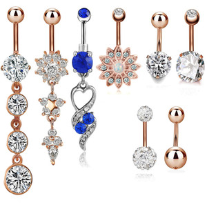 Stainless Steel Belly Dangle Ring Bell Button Navel Rings Simple Design Rhinestone Body Piercing Fashion Jewelry Wholesale 0875WH