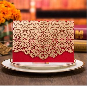 Red White Laser Cut Luxury Flora Wedding Invitations Card Elegant Lace Favor Envelopes Wedding Party Decoration