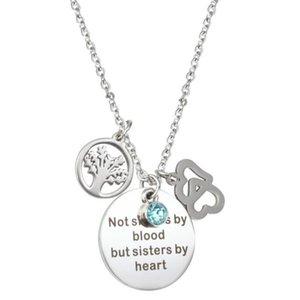 Accesorios de joyería de moda Mejor amigo Amistad Collar No hermanas Por sangre Pero Hermanas Por corazón Árbol de la vida Colgante Llavero