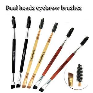 Çok fonksiyonlu 17 cm çift kafa kaş makyaj fırça değneklerini aplikatör kozmetik fırçalar kaş tarak profesyonel çift kafa makyaj aracı