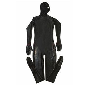 Leotardo erótico Gay Men Sexy Fetish Latex Discoteca Catsuit Disfraces de PVC Prisionero Cosplay Body Suit Negro mono de cuero