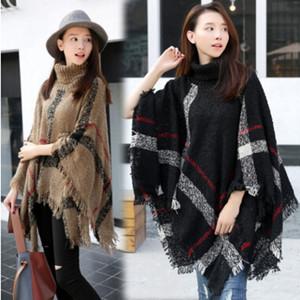 Écharpe à carreaux Poncho Tassel Fashion Wraps Femmes Vintage Écharpes En Tricot Tartan Hiver Cape Grille Châle Cardigan Couvertures Manteau Manteau Pull