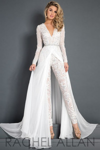 2018 Lace Chiffon Wedding Dress Jumpsuit With Train Modest V-neck Long Sleeve Beaded Belt Flwy Skirt Beach Casual Jumpsuit Bridal Gown