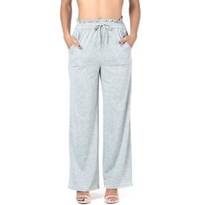 Yüksek Bel Gevşek Pantolon Kadın Yaz Tarzı Dize Geniş Bacak Elastik Rahat Pantolon Kadın Stringy kenarlık 2018 Yeni Gri Pantolon