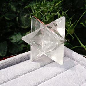 el envío libre de 4 cm de tamaño grande cristalina clara natural de cuarzo Puntos Merkaba Estrellas piedra preciosa de gran meditación para la curación de Feng Shui decoración del hogar