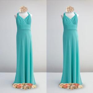 Real Foto Elegante Junior vestiti da damigella Halter increspato impero cintola Teal chiffon ragazze di fiore veste