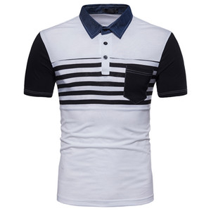 S-2XL Moda Verão Camisa Masculina Stripes Cor Denim Collar Patchwork Manga Curta camiseta de Algodão Roupas Preto Cinza Branco