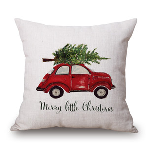 Car Driving Cushion Cover Family Present Pillow Cover Thin Linen Pillow Cases Forest Deer 45X45cm Merry Christmas Bedroom Sofa Decoration
